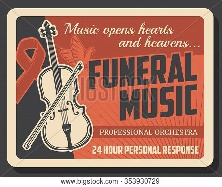 Funeral Service Company Vintage Poster, Farewell Ceremony Music Orchestra. Vector Professional Buria