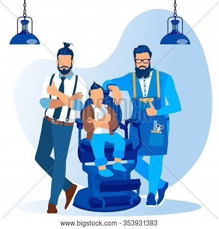 Bearded Barber, Father And Stylish Baby Boy With Cool Haircut Sitting In Armchair With Crossed Arms