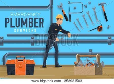 Plumber Service, Emergency Water Leakage And Water Pipeline Plumbing. Vector Worker Man In Uniform W
