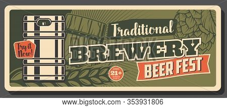 Oktoberfest Festival, German Craft Beer Brewery Pub And Bar Vintage Retro Banner. Vector German Trad