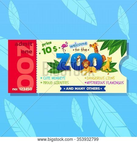 Colorful Zoo Ticket With Tropical Plants Exotic Birds, African And Forest Animals. Dangerous Safari