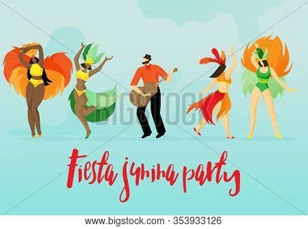Flat Inscription Fiesta Party Vector Illustration. Women In Carnival Costumes Dance Latin Dances Wit