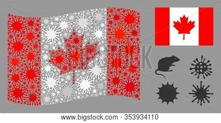 Coronavirus Mosaic Waving And Flat Canada Flag. Mosaic Vector Is Created With Canada Flag Icon And W