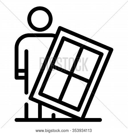 Man Window Installation Icon. Outline Man Window Installation Vector Icon For Web Design Isolated On