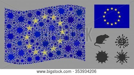Coronavirus Mosaic Waving And Flat Europe Flag. Mosaic Vector Is Composed With Europe Flag Pictogram