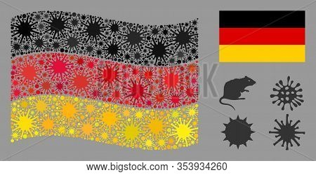 Coronavirus Mosaic Waving And Flat Germany Flag. Mosaic Vector Is Formed With Germany Flag Icon And