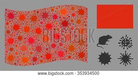 Coronavirus Collage Waving And Flat Red Flag. Mosaic Vector Is Formed With Red Flag Icon And With Ra