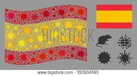 Coronavirus Mosaic Waving And Flat Spain Flag. Mosaic Vector Is Designed With Spain Flag Icon And Wi