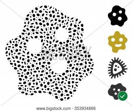 Dotted Mosaic Based On Amoeba. Mosaic Vector Amoeba Is Created With Randomized Elliptic Spots.