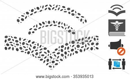 Dot Mosaic Based On Audiobook. Mosaic Vector Audiobook Is Designed With Scattered Oval Dots.