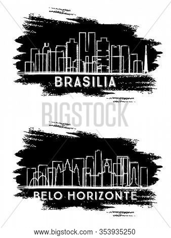 Belo Horizonte and Brasília Brazil City Skyline Silhouettes. Hand Drawn Sketch. Business Travel and Tourism Concept with Modern Architecture. Cityscapes with Landmarks.