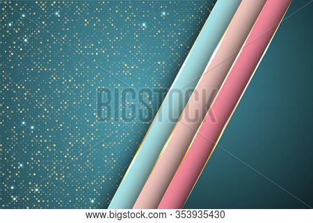 Gold Halftone Dots And Inclined Ribbon Stripes Banner Vector Design. Glamour Banner Background Templ