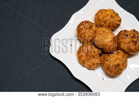 Appetizer For Buffet Of Custard Dough With Filling. Freespace