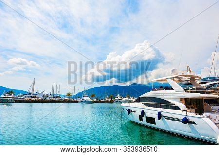 Yachts In The Sea Port Of Tivat, Montenegro. Kotor Bay, Adriatic Sea. Famous Travel Destination.