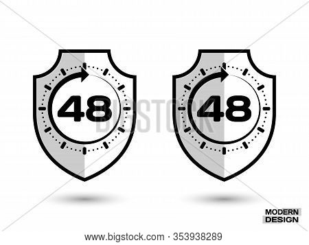 Protection Shield With Shadow, And Sign - 48 Hour Cycle. Icon Isolated On White Background. Vector I