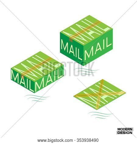 Packaging Mail Order Boxes Sealed Tape. Large, Medium And Small Green Mail Packaging. Vector Illustr