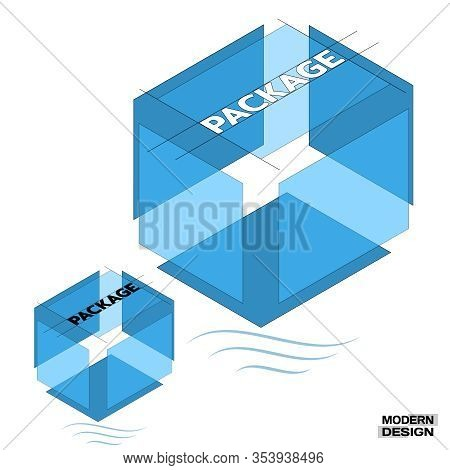 Big Blue Packing Box In 3d Isometric View, In Cross-section, With Inscription On Top. Layered Struct
