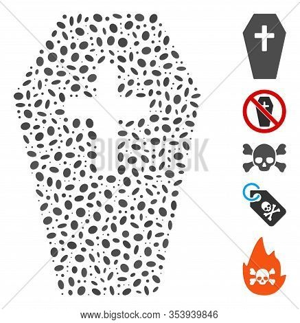 Dotted Mosaic Based On Coffin. Mosaic Vector Coffin Is Created With Random Oval Spots.