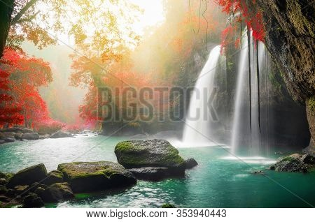 Heo Suwat Waterfall Khao Yai National Park In Thailand, With Rain And Fog.