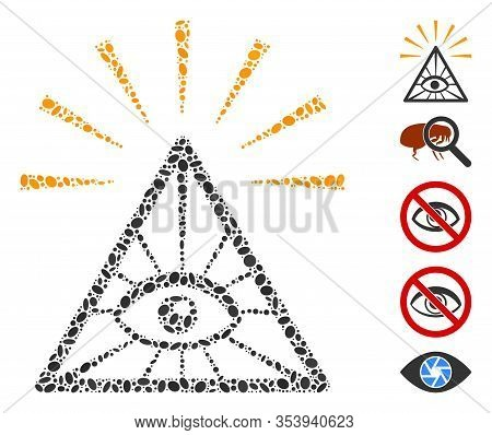 Dotted Mosaic Based On Total Control Eye Pyramid. Mosaic Vector Total Control Eye Pyramid Is Formed