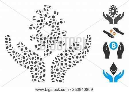 Dotted Mosaic Based On Biotechnology Care Hands. Mosaic Vector Biotechnology Care Hands Is Composed