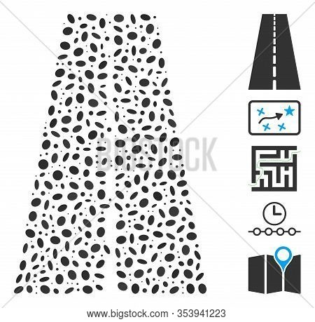Dotted Mosaic Based On Straight Road. Mosaic Vector Straight Road Is Composed With Scattered Ellipse
