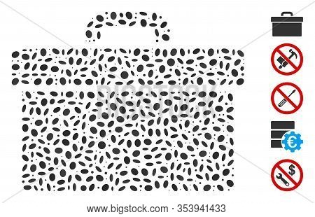 Dot Mosaic Based On Toolbox. Mosaic Vector Toolbox Is Designed With Scattered Ellipse Spots.