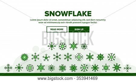 Snowflake Tracery Landing Web Page Header Banner Template Vector. Beautiful Decorative Frozen Winter