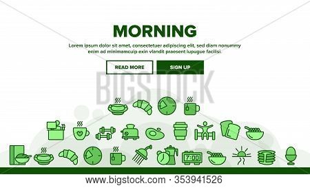 Morning Food And Tools Landing Web Page Header Banner Template Vector. Morning Coffee Cup And Breakf