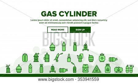 Gas Cylinder Landing Web Page Header Banner Template Vector. Gas Cylinder, Container With Flame Mark