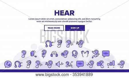 Hear Sound Aid Tool Landing Web Page Header Banner Template Vector. Hear Music Earphones And Dynamic
