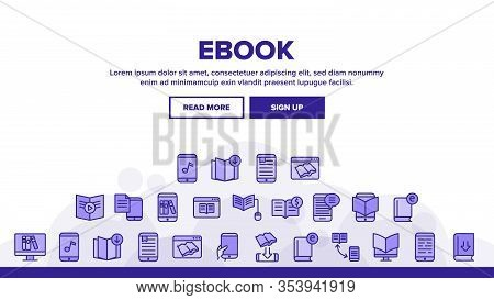 Ebook Electronic Tool Landing Web Page Header Banner Template Vector. Ebook Device For Reading, Phon