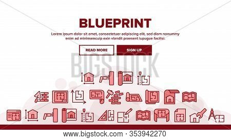 Blueprint Architecture Landing Web Page Header Banner Template Vector. House Project On Blueprint, B