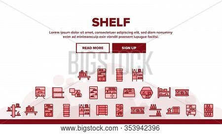 Shelf Room Furniture Landing Web Page Header Banner Template Vector. Shelf With Books And Drink, Doc