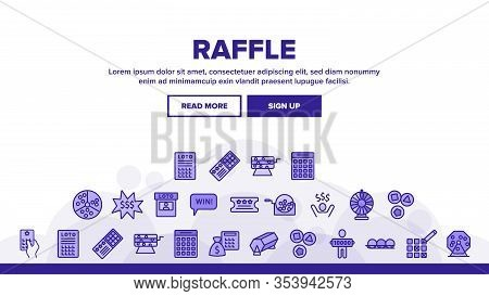 Raffle Gamble Lottery Landing Web Page Header Banner Template Vector. Raffle Ticket And Drum, Loto B