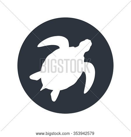 Sea Turtle Graphic Icon. Sea Turtle Sign In The Circle Isolated On White Background. Vector Illustra