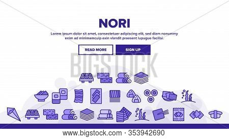 Nori Seaweed Asia Food Landing Web Page Header Banner Template Vector. Nori For Sushi And Rolls, Sou