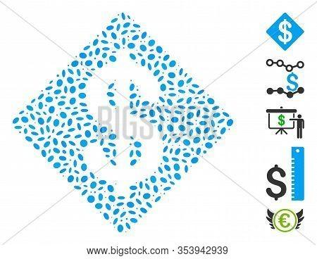 Dot Mosaic Based On Dollar Rhombus. Mosaic Vector Dollar Rhombus Is Designed With Randomized Oval El