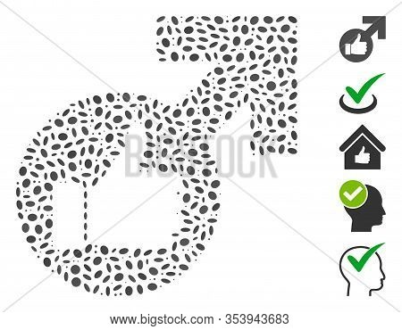 Dotted Mosaic Based On Excellent Erection Symbol. Mosaic Vector Excellent Erection Symbol Is Formed