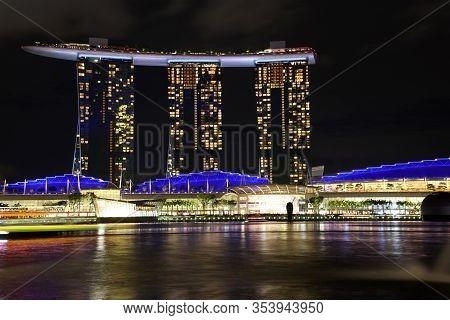 Singapore, Republic Of Singapore - December 16, 2019: Skyline Of Singapore By Night, With Marina Bay
