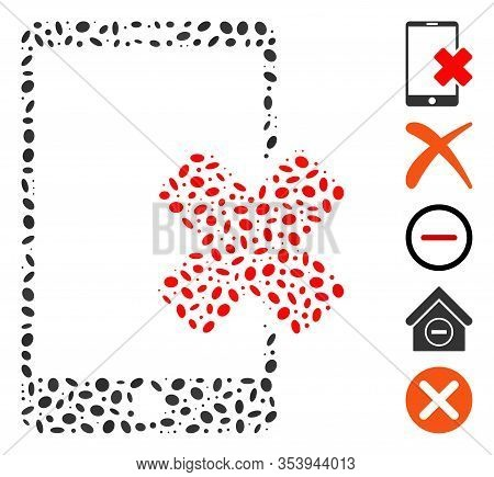 Dotted Mosaic Based On Wrong Smartphone. Mosaic Vector Wrong Smartphone Is Formed With Scattered Ell