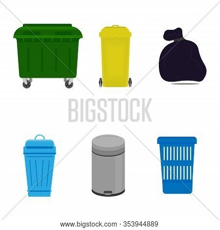 Flat Illustration Of Street And Indoor Trash Cans. Metal And Plastic Trash Bins. Colorful Trash Bins