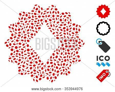 Dotted Mosaic Based On Diamonds Token. Mosaic Vector Diamonds Token Is Created With Random Ellipse I