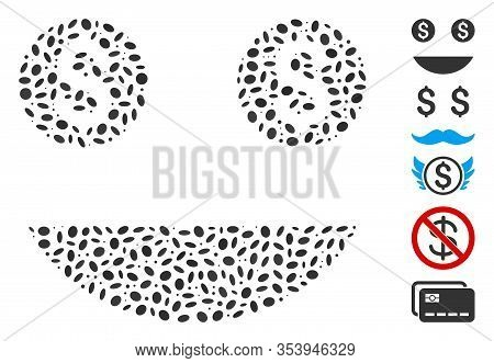 Dot Mosaic Based On Money Smiley. Mosaic Vector Money Smiley Is Designed With Randomized Ellipse Ite