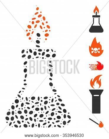 Dot Mosaic Based On Spirit Lamp Fire. Mosaic Vector Spirit Lamp Fire Is Designed With Scattered Oval