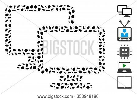 Dotted Mosaic Based On Computer Workgroup. Mosaic Vector Computer Workgroup Is Designed With Random