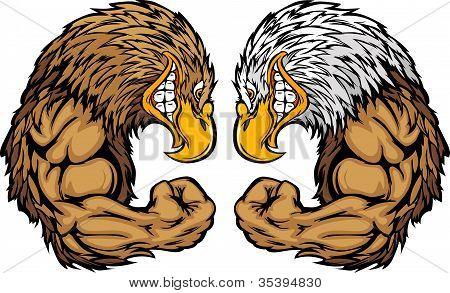 Eagle Mascots Flexing Arms Vector Cartoon