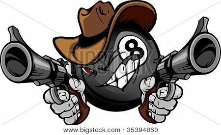 Billiards Pool Eight Ball Shootout Cartoon Cowboy