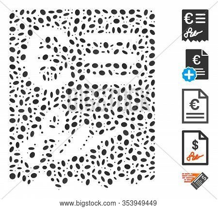 Dot Mosaic Based On Euro Invoice. Mosaic Vector Euro Invoice Is Created With Random Ellipse Spots.