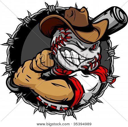Cartoon Cowboy beisebol Face taco de beisebol de exploração